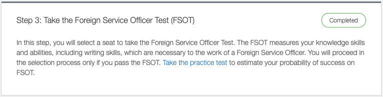 third step to submit an application for the foreign service taking the test