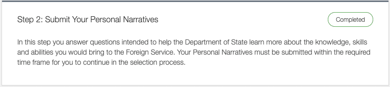 instructions for submitting the foreign service personal narratives